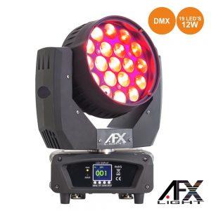 Moving Head 19 LEDS 12W RGBW Ptz DMX AFXLIGHT - (LEDWASH-1912Z)