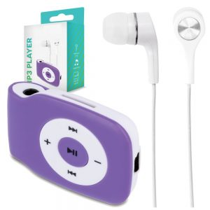 Leitor Mp3 C/ Auscultadores Micro SD Roxo - (MP3PLAYER-PL)