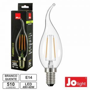 Lâmpada E14 4W 230V LED Filamento Chama 2700k 510lm - (LF134/1WW)