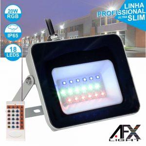 Foco LED 20W 220v C/Comando RGB IP65 AFXLIGHT - (LF20-RGB)