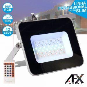 Foco LED 30W 220v C/Comando RGB IP65 AFXLIGHT - (LF30-RGB)