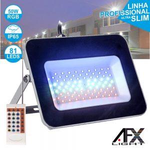 Foco LED 50W 220v C/Comando RGB IP65 AFXLIGHT - (LF50-RGB)