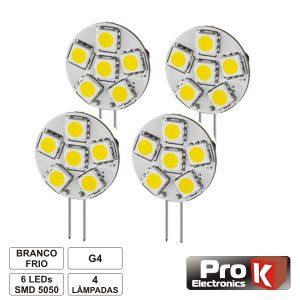 Lâmpada G4 1.2W 12V 6 LEDS SMD 5050 Branco Frio 4x PROK - (LL02CW/4)