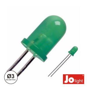 LED 3mm Alto Brilho Verde Difuso Jolight - (LL0310G-D)