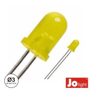 LED 3mm Alto Brilho Amarelo Difuso Jolight - (LL0310Y-D)