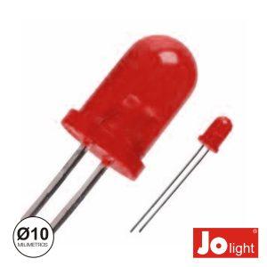 LED 10mm Alto Brilho Vermelho Difuso Jolight - (LL1010R-D)