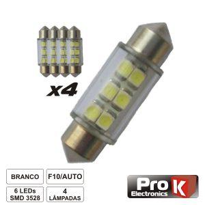 Lâmpada P/ Automóvel 12V 6 LEDS Branco 4x PROK - (LLA06A/4)
