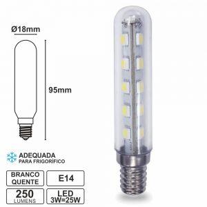 Lâmpada E14 3W=25W 230V LED Frigorífico Branco Quente 250lm - (LLE1403FWW(G))