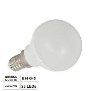 Lâmpada E14 4W 230V 11 LEDS Globo Branco Quente - (LLE14G04WW(F))