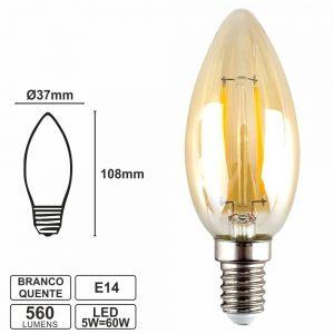 Lâmpada E14 5W 230V LED Vela Branco Quente 560lm - (LLE14V05VTG)