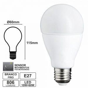 Lâmpada E27 10W=60W 230V LED Movimentos Branco Frio 806lm - (LLE2710MOVCW(G))