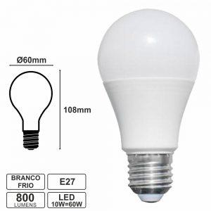 Lâmpada E27 10w=60w 230v Globo 6400k Branco Frio 800lm - (LLE27G10CW(V))