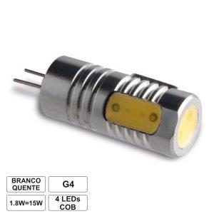 Lâmpada G4 1.8W 12V 1 LED SMD Cob Branco Quente - (LLG401WWC(F))