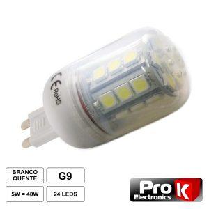 Lâmpada G9 5W 12V 24 LEDS SMD 5050 Branco Frio - (LLG902CW)