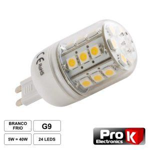 Lâmpada G9 5W 12V 24 LEDS SMD 5050 Branco Frio - (LLG905CW)