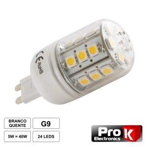 Lâmpada G9 5W 12V 24 LEDS SMD 5050 Branco Quente - (LLG905WW)