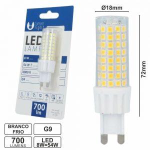 Lâmpada G9 8W=54W 230V Branco Frio 700lm - (LLG908CW(F))