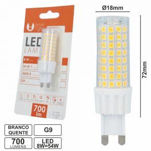 Lâmpada G9 8W=54W 230V Branco Quente 700lm - (LLG908WW(F))
