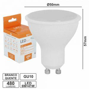 Lâmpada GU10 6W 230V LEDS Branco Quente 480lm - (LLGU06WWA(F))