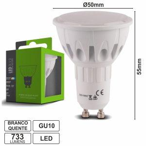 Lâmpada GU10 10W 230V LEDS SMD 2835 Branco Quente 733lm - (LLGU10WWB(F))