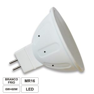 Lâmpada MR16 6W=40W 12V LED Branco Frio 420lm - (LLMR1606CW(E))