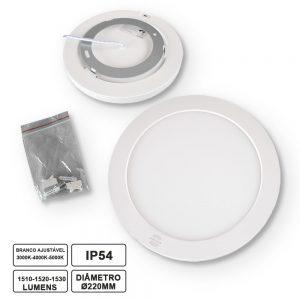Painel LED Redondo 18W 3000k-4000k-5000k C/Sensor - (LLPRS3WHITE18/S)