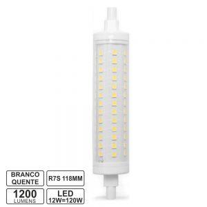 Lâmpada R7s 12W 230V LED 118mm Branco Quente - (LLR7S11812WW)