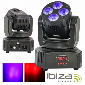 Moving Head Mini 4 LED Cree RGBWA-UV 18W Dmx Mic IBIZA - (LMH-MINIWASH)