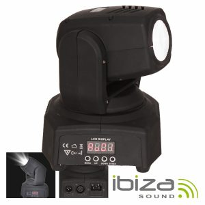 Moving Head Mini 1 LED CREE Branco 10W Foco DMX Mic IBIZA - (LMH250WH-MINI)