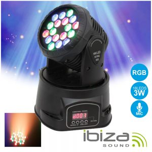 Moving Head Mini 18 LEDS 3W RGB DMX Mic IBIZA - (LMH330LED)