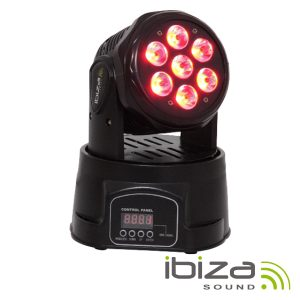 Moving Head Mini 7 LEDS 10W RGBW DMX Mic IBIZA - (LMH350LED)