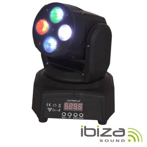 Moving Head Mini 4 LEDS 10W RGBW DMX Mic 50W IBIZA - (LMH350RGBW-MINI)