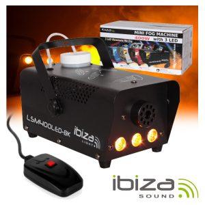 Máquina De Fumos 400W C/ 3 LEDS 3W E Comando Preta IBIZA - (LSM400LED-BK)
