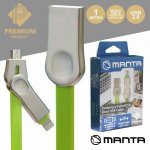 Cabo USB-A 2.0 Macho / Micro USB-B E Apple 8p 1M Premium - (MA9208)
