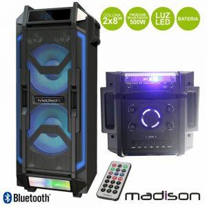 "Coluna Amplificada 2x8"" 500W FM/USB/BT/Bat LEDS Madison - (MADHIGHPOWER28-500)"