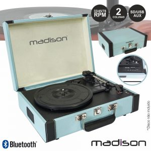 Gira-Discos 33/45/78RPM Retro BT/USB/SD/Rec Azul Madison - (MAD-RETROCASE-BLU)