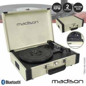 Gira-Discos 33/45/78RPM Retro BT/USB/SD/Rec Creme Madison - (MAD-RETROCASE-CR)