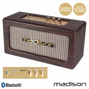 Coluna Bluetooth Vintage 2x10W USB Mogno Madison - (MAD-VINTAGE-WD)