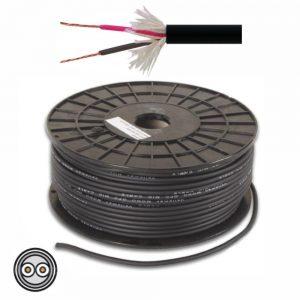 Cabo Microfone 2 Condutores + Malha 2x0.34mm² Ø6.5mm Preto - (MC002E)