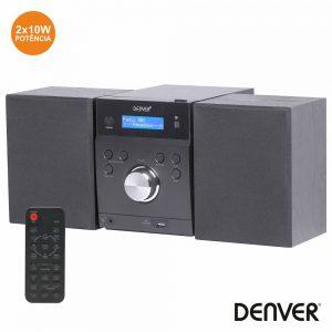 Sistema Som 2.0 C/ Visor Lcd Cd/FM/Aux Comando DENVER - (MDA-240)