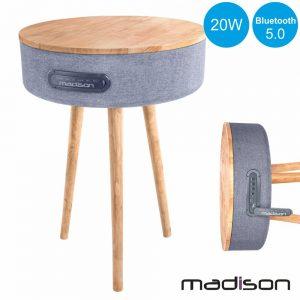 Mesa Madeira C/ Coluna Bluetooth 20W MADISON - (MAD-RETROTABLE)