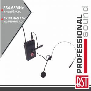 Microfone Headset Uhf S/ Fios 864.65mhz BST - (IPS10HEAD-B)
