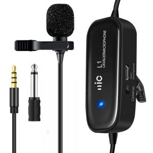 Microfone Lapela P/ DSLR PC Smartphone C/ Bat e Adaptadores - (MICLAPL1)