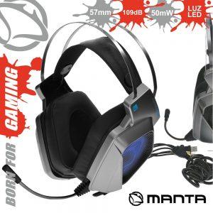 Auscultadores Gaming P/ Consola/Pc USB E Jack MANTA - (MM017G)