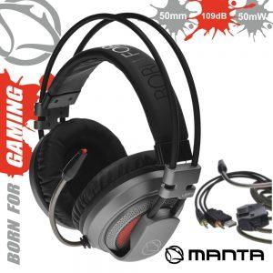 Auscultadores Gaming P/ Consola/Pc USB E Jack MANTA - (MM023G)