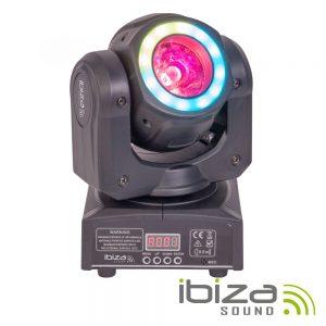 Moving Head 40W 2 Em 1 Beam/Wash Anel 12 LEDS DMX Mic IBIZA - (MHBEAM40-FX)