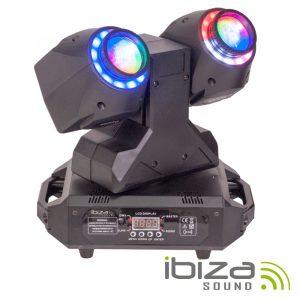 Moving Head Duplo 2 Em 1 Beam/Wash Anel LEDS DMX Mic IBIZA - (MHBEAM60-FX)