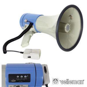 Megafone 25W C/ Ranhura P/ Cartão SD E Porta USB VELLEMAN - (MP25FMU)