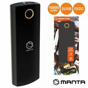 PoWerbank 10000ma C/ Ficha Micro USB 2USB Preto MANTA - (MPB005B)