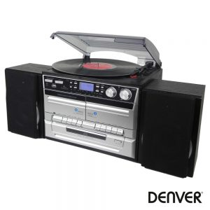Gira-Discos 33/45/78RPM Retro Cd/Cassete/USB/SD DENVER - (MRD-165)
